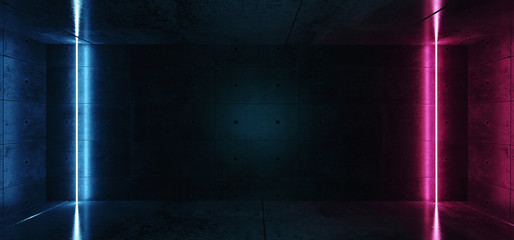 Neon Glowing Vertical laser Tube Lines Blue Pink Purple Colors In Dark Grunge Rough Concrete Reflective Room Empty Space For Text Sci Fi Modern Retro 3D Rendering