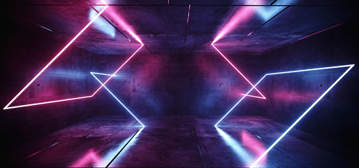 Sci Fi Neon Abstract Purple Blue Pink Glowing Rectangle Tube Shapes Lasers In Dark Empty Grunge Concrete Room Background Reflections 3D Rendering