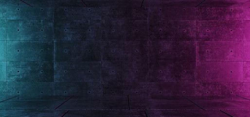 Empty Retro Neon Dark Grunge Concrete Blue Purple Glowing Room With Space For Text Background Modern Elegant Concept 3D Rendering