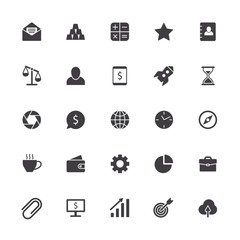 Business icons. Office teamwork sign, business collaboration symbol and product management isolated vector silhouette symbols set