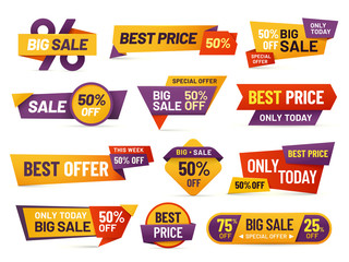 Retail sale tags. Cheap price flyer, best offer price and big sale pricing tag badge design isolated vector collection