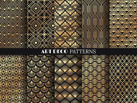 Art deco pattern. Golden minimalism lines, vintage geometric arts and deco line ornate seamless patterns vector set