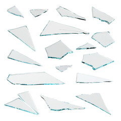 Set pieces broken glass isolated on white background, with clipping path