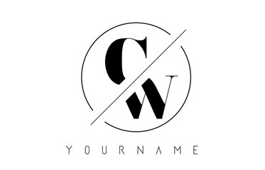 CW Letter Logo with Cutted and Intersected Design