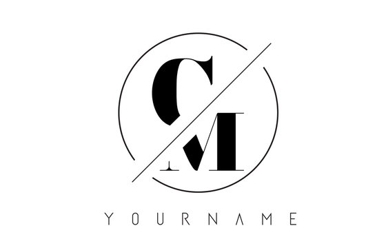 CM Letter Logo with Cutted and Intersected Design