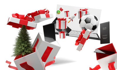 surprise boxes christmas presents with full screen mobile phone and other products 3d-illustration
