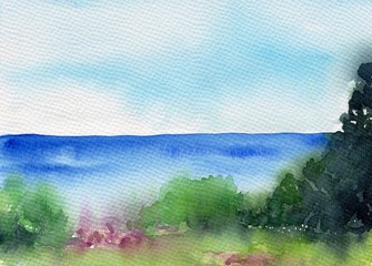 Summer landscape with lake or river, forest and meadow. Beautiful scenery. Watercolor illustration. Colorful sketch of nature. Abstract idyllic textured background.