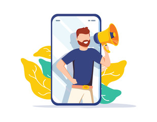 Refer a friend vector illustration concept, man shout on megaphone, can use for landing page, template, ui, web