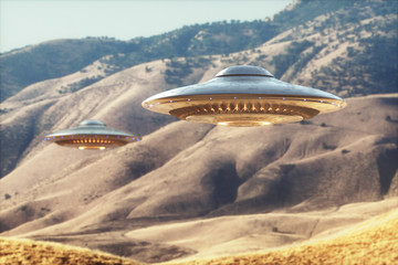 Garden Poster UFO Unidentified Flying Object UFO. Two unidentified flying objects - UFO, flying over the sunny desert.