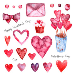 Watercolor set of elements for Valentine's day