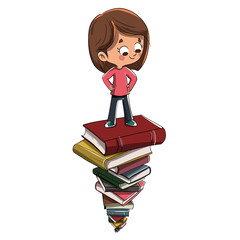 Niño sobre montón de libros