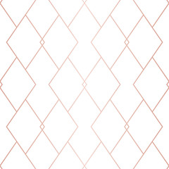 Rose gold linear pattern. Vector geometric seamless texture. Pink and white ornament with delicate grid, lattice, net, rhombuses, thin lines. Abstract graphic background. Premium repeatable design