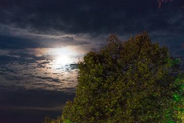 Vollmond hinter Wolkenhimmel