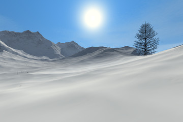 Snowy mountain, an alpine landscape, a beautiful tree and a bright sun in the sky.