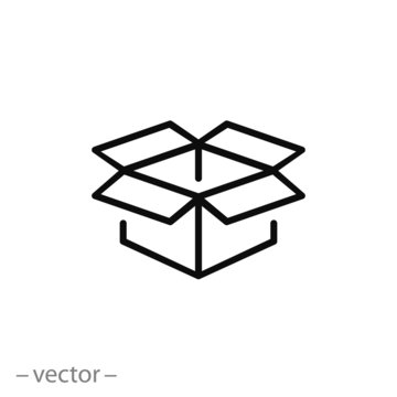Open box icon, line sign vector illustration of Eps10