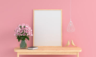 Blank photo frame in pink room for mockup, 3D rendering