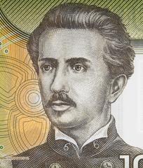 Ignacio Carrera Pinto portrait on Chilean 1000 peso (2011) banknote close up, Chile currency.