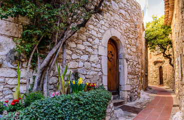 Sightseeing of France. The picturesque medieval city of Eze Village in the South of France along...