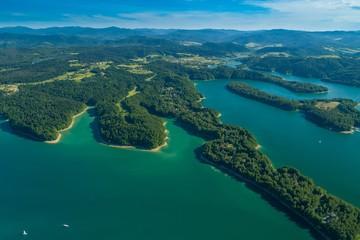 Jezioro Solińskie, Bieszczady. Zdjęcie z powietrza