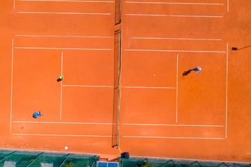 Fototapeta Kort tenisowy i gra w tenisa z powietrza obraz