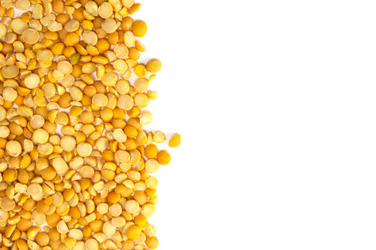 Yellow peas background with copy space