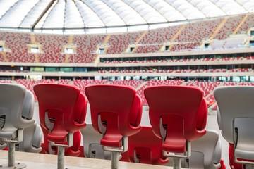 Fototapeta Krzesełka na stadionie piłkarskim, Warszawa, Polska