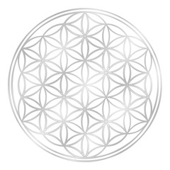 Silver Flower of Life, used for decoration or silver pendant. Geometrical symbol on white background.