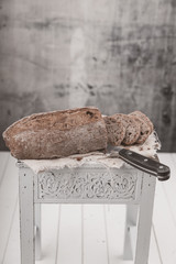 fresh walnut bread on a table