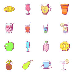 Drinks and Fruits set. Background for printing, design, web. Usable as icons. Seamless. Colored.
