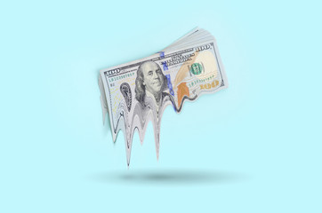 Concept of losing money. Fall in US currency value