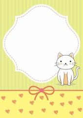 Cute blank card template with cat vector and yellow color