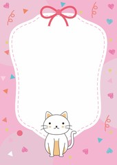 Cute blank frame template with pink color and cat vector