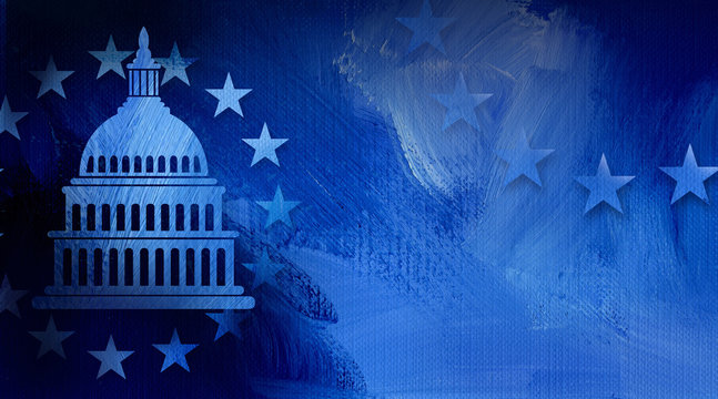 Government Capitol building with ring of stars graphic abstract background