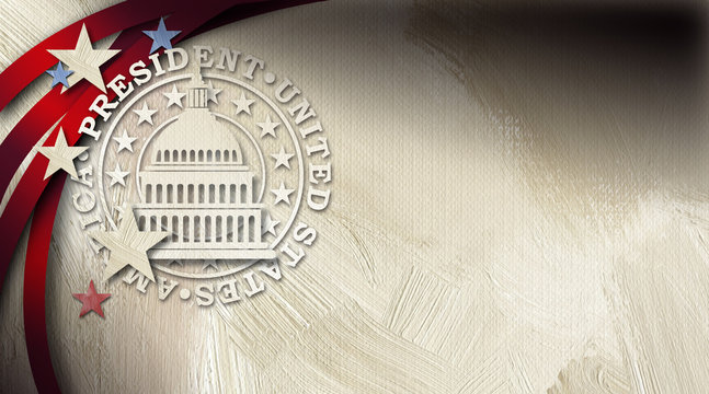 Government Capitol building with President seal graphic abstract background