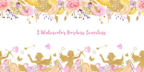 2 Watercolor Valentine's Day Seamless Borders. Texture with golden angels, flowers, hearts, roses. Template for cards, invitations, weddings, love design.