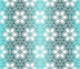 Seamless Geometrical Floral Texture. Vector Illustration. For Design, Wallpaper, Fashion, Print. Light green Gradient