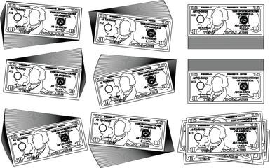 Bunch of 10 US dollar banknote outline set