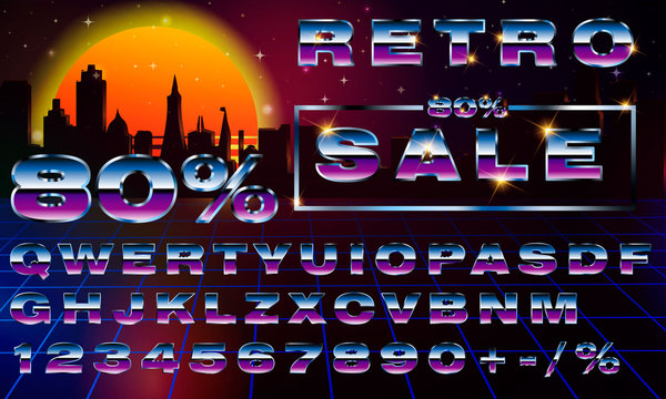 Sale 80 percent. Fancy retrofuturistic neon font on dark backround. Synthwave vaporwave style. Fancy retrofuturistic neon font on dark backround. Synthwave vaporwave style.