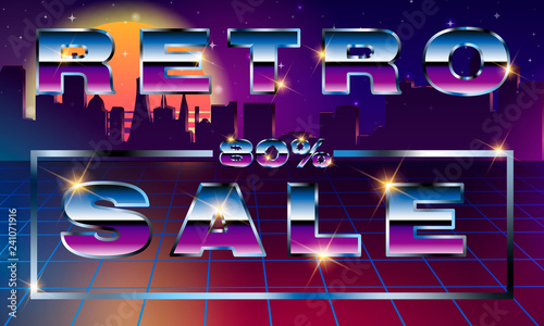 Sale 80 percent  Fancy retrofuturistic neon font on dark