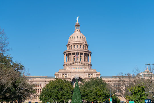 View of the Top of the Austin Capitol With Clear Skies During the Holidays Season