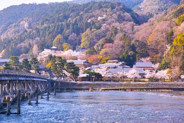 京都嵐山、春の桜咲く渡月橋