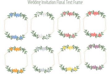 Wedding cards, wedding invitations or floral message frames