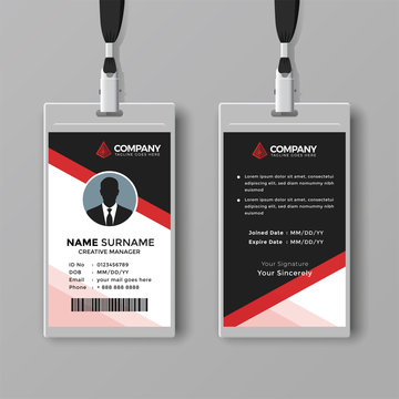 Corporate ID card template with red details