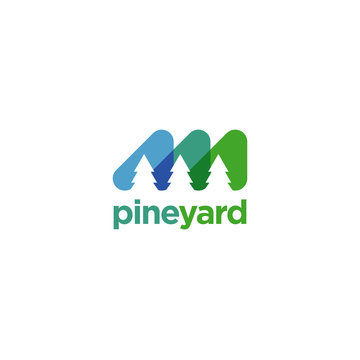 Abstract Colorful Three Pines Logo Template