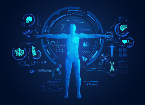 concept of medical or health care technology, shape of human with digital body analysis interface