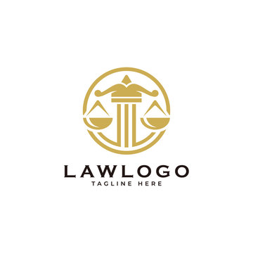 Law symbol logo, scale justice and circle vector icon