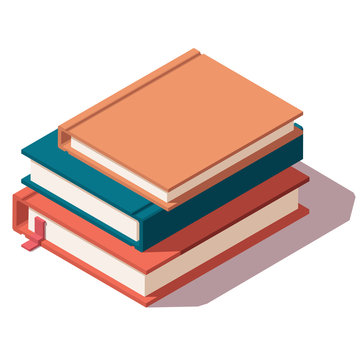 Isometric Low Poly vector horizontal stack of colored books icon