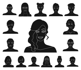 Avatar and face black icons in set collection for design. A person's appearance vector symbol stock web illustration.