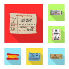 Vector illustration of ticket and admission icon. Collection of ticket and event stock vector illustration.