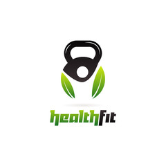 Health Fit Kettlebell Logo Symbol